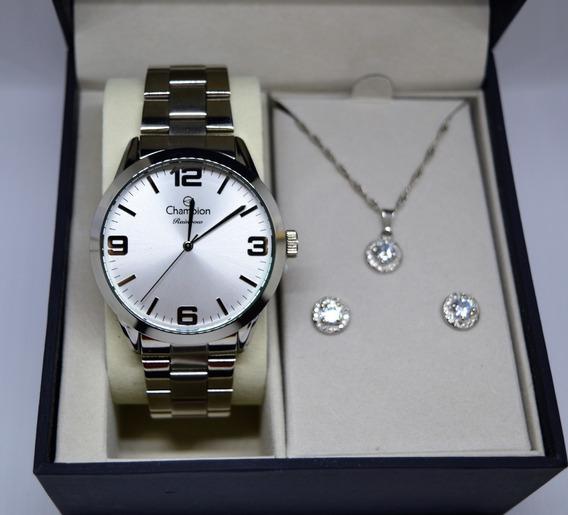 Relógio Champion Feminino Prateado + Kit Semi Joia