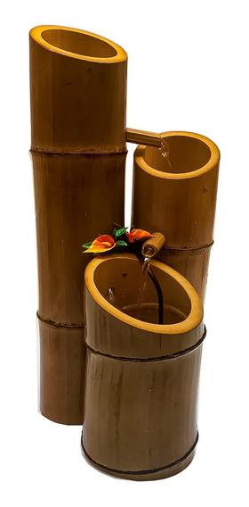 Fonte De Água Cascata Bambu Artesanal Decorativo 4 Quedas
