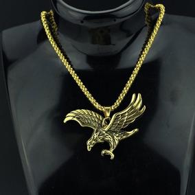 Colar Águia Pingente Falcão Ouro Cordão Pronta Entrega