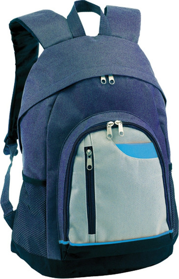 Mochila Frontal Flip Azul Con Gris Importada