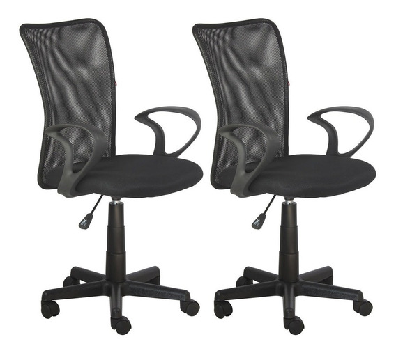 Par Cadeiras Escritorio Lost Secretaria Preta Giratoria + Nf