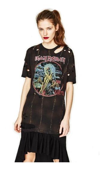 Remera Vestido Importado Iron Maiden Heavy Rock