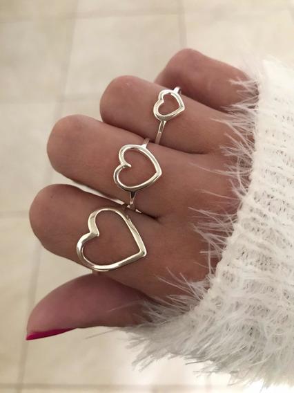 Anel De Coração Médio Vazado Em Prata 925 Estilo Pandora