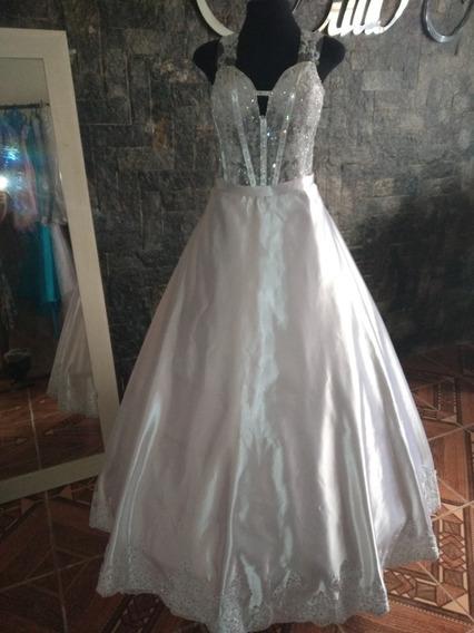 Vestido De Noiva 3 Em 1 Com Calda Removivel Tam Pp/p+brinde