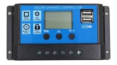 Controlador Carga Painel Solar 30a 12 E 24v Lcd 2 Usb