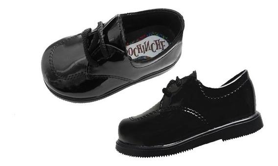 Art 09 Zapatos Negro Charol Bebe Nene Varón Bautismo Casamiento Linea De Vestir Con Cordones