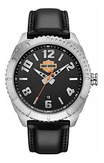 Reloj Harley-davidson Para Hombre B&s De Cuero Granulado Y A
