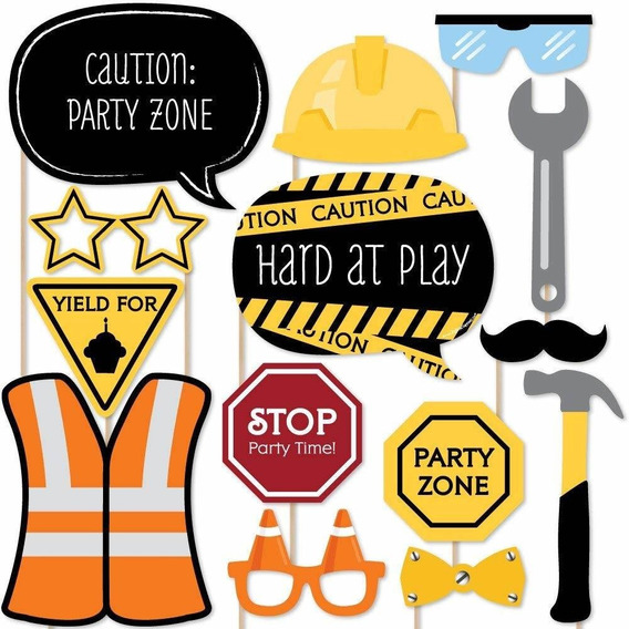 Construction Truck - Photo Booth Props Kit - 20 Count