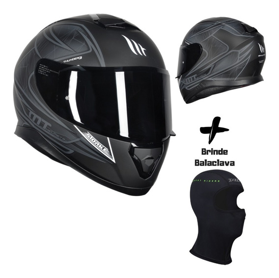 Capacete Mt Thunder 3 Storke Matt Black Grey Mais Brinde