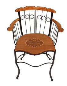 Cadeira Bistrô Fixa Com Braço Ferro E Madeira - Super Oferta