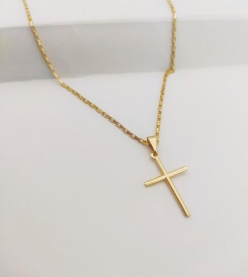 Kit Corrente, Banho De Ouro 18k, 60cm Com Cruz Masculina 1mm
