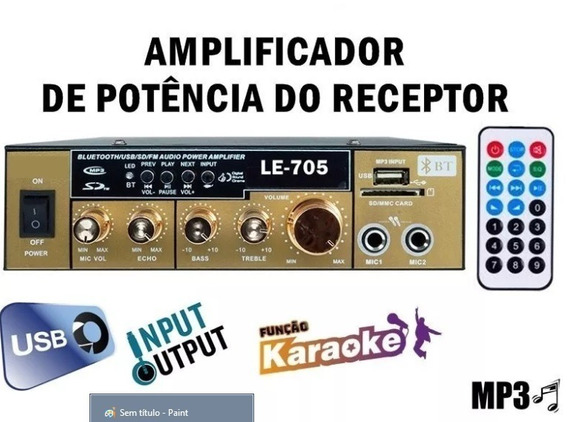 Mini Amplificador Àudio Estereo Bluetooth Rádio Karaokê Fm