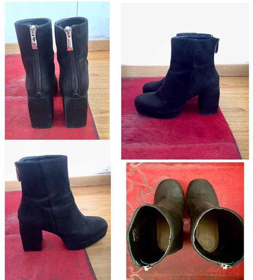 Botas Zara De Gamuza Color Negro Talle 36