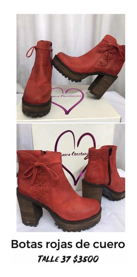 Botas De Cuero Rojo