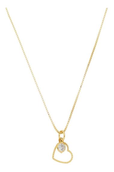 Colar Zircônia Com Pingente De Coração Diamantado Ouro