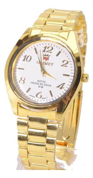 Relógio Feminino D Pulso Dourado Resistente Barato Promoção