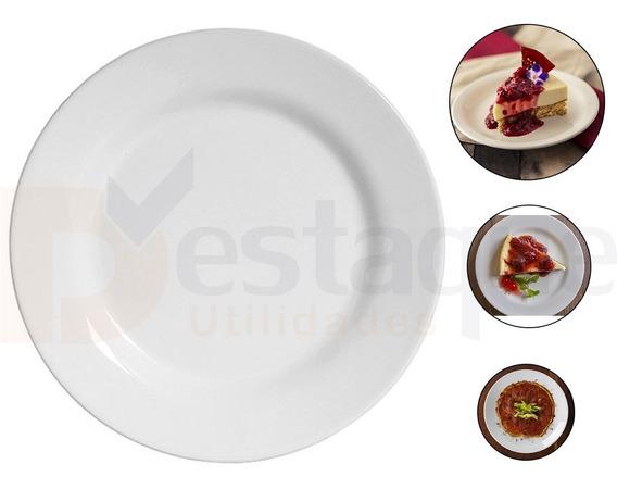 Jogo 12 Prato Sobremesa Melamina Plastico Branco 17 Cm