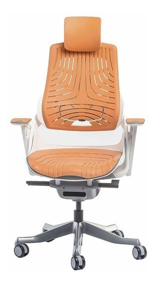 Cadeira Escritório Wau Super Ergonômica Branca E Laranja
