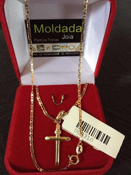 Cordão Feminino E Pingente Cruz Ouro18/750 Com Garantia