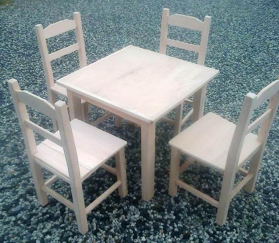 Jogo Mesa Infantil 4 Cadeiras De Madeira Móveis Rusticos Bv