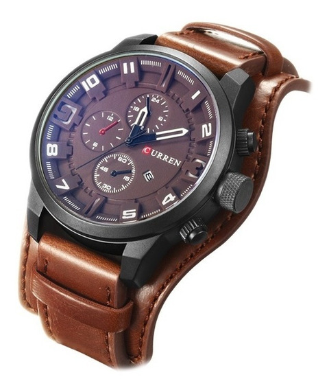 Relógio Masculino Original Couro Casual Militar Social Luxo