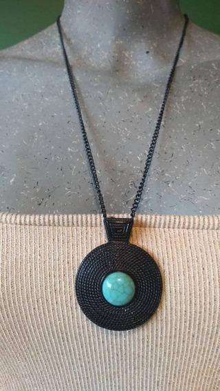 Colar Longo Preto Com Pedra Azul + Brinde Um Par De Brincos
