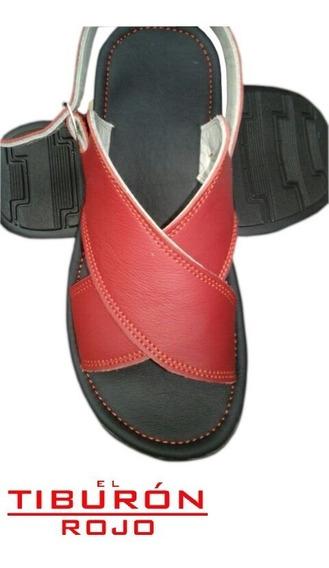 Huaraches Cruzados De Piel Para Descanso, Confortables, Rojo