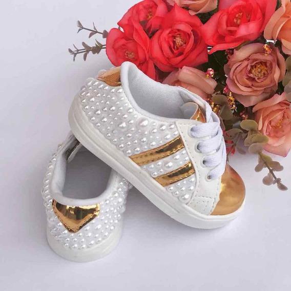 Tênis Dourado Branco Luxo Customizado Pérola Infantil