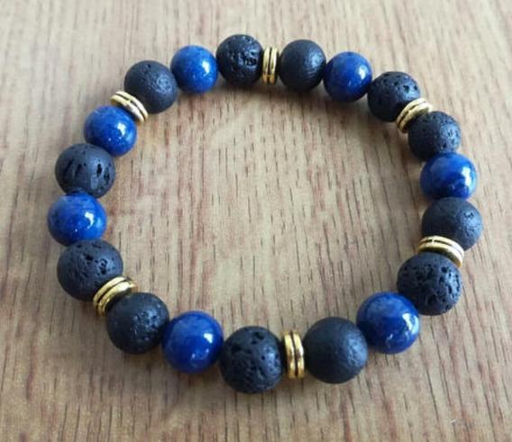 Pulsera De Lapis Lazuli Y Piedra Volcánica