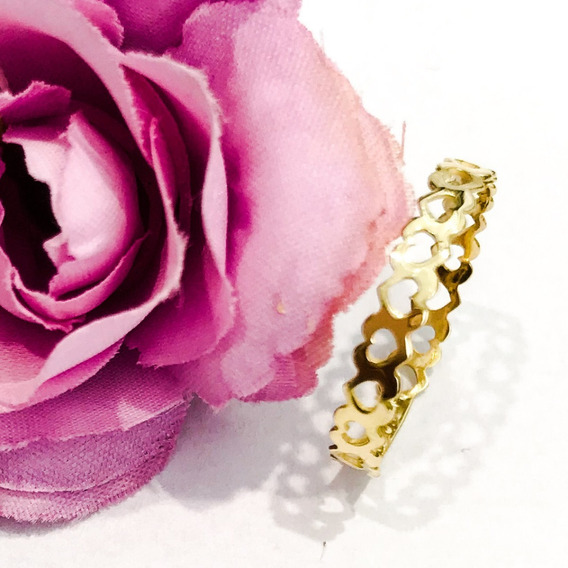 Anel Coração Corações Em Ouro 18k Para Noivado Namorado