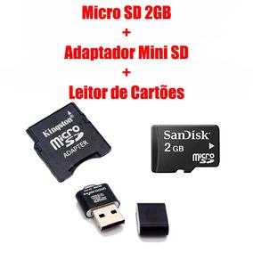 Micro Sd 2gb + Adapt Mini Sd + Leitor De Cartões Metal Top