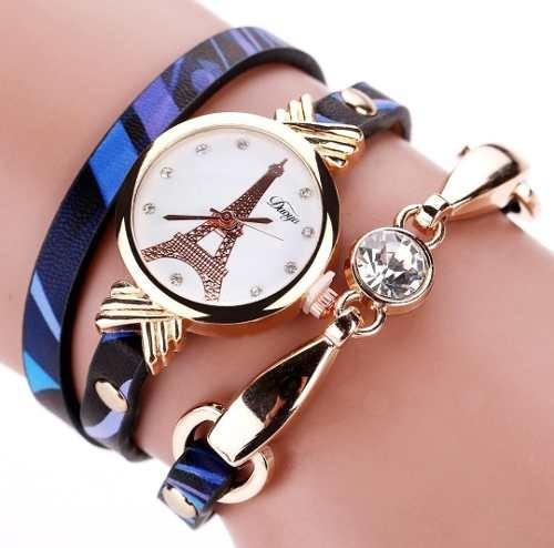 Relógio Torre Eiffel D068 Dourado Com Pulseira Preto E Azul