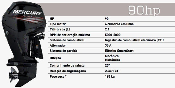Motor De Popa Mercury 90hp Efi Ct Novo