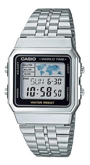 Relógio Casio Prata A500wa-1df Hora Mundi Original + Nf