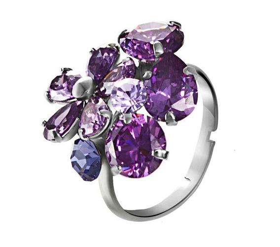 Anillo Florplatino Zirconia Calidad Diamante Ajustable.