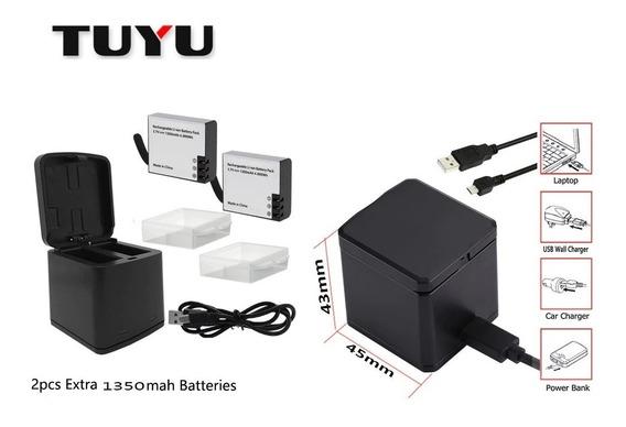 Base Duplo Carregamento + 2 Baterias 1350 Para Sjcam H8r H9r