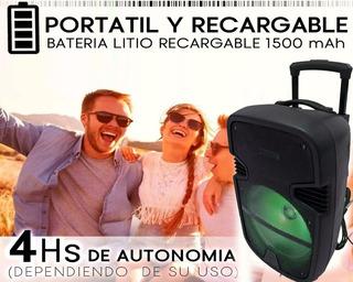 Parlante Grande 12 Pulgada Karaoke Bluetooth Led Fiesta +mic