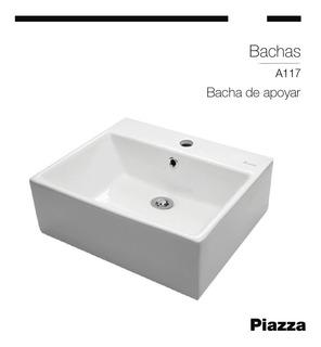 Bacha De Baño De Apoyo Piazza Cuadrada 1 Agujero