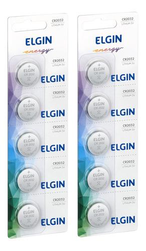 Imagem 1 de 6 de 10 Baterias De Lítio Elgin Cr2032 -2 Cartelas Com 5 Unidades