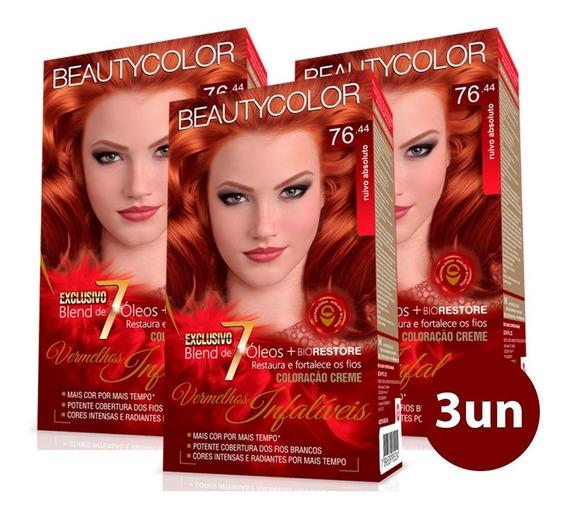 Beauty Color Kit Coloração 76.44 Ruivo Absoluto 3 Unidades