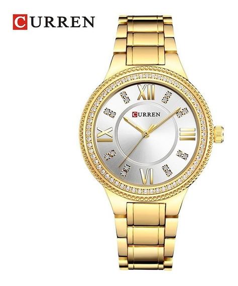 Relógio Feminino Dourado A Prova De Água Curren Com Garantia