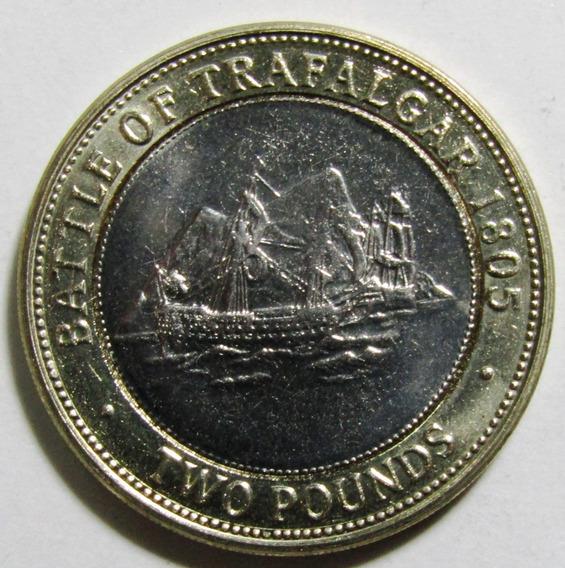 Gibraltar 2 Pounds 2006 Bimetalica Batalla Trafalgar Unc