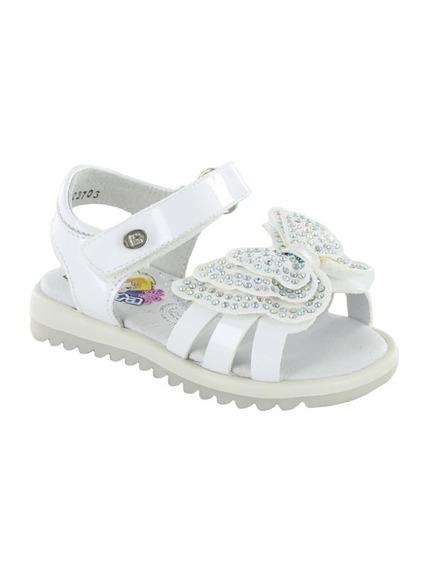 Sandalia Para Niña Velcro Coqueta Rebeca Blanco T18-21