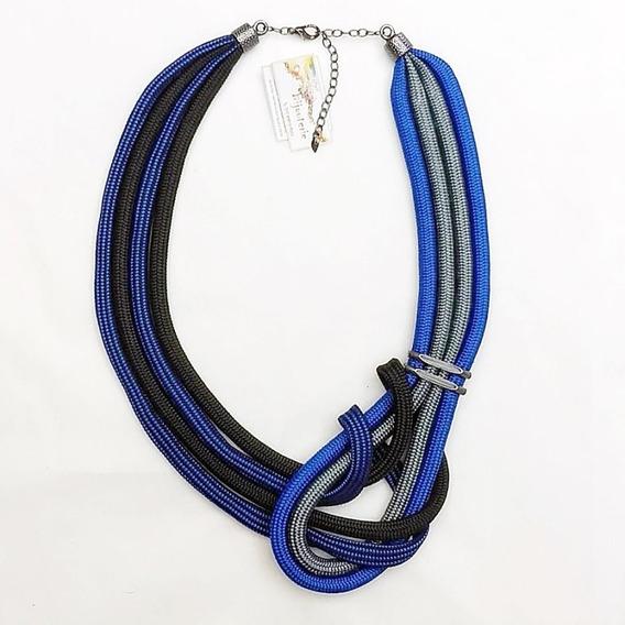Colar Feminino Estilo Maxi-colar Em Cordas Azul&preta Lindo!