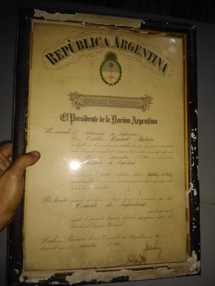 Antiguo Titulo Militar Firmado Por J D Peron Ejercito