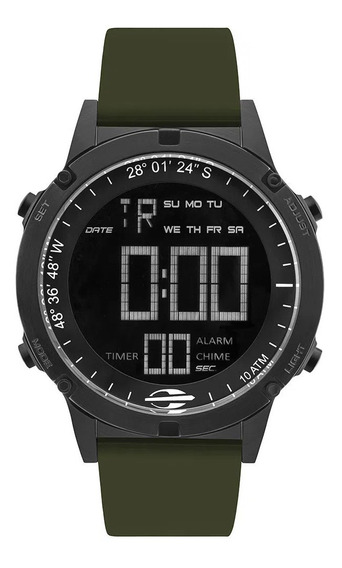 Relógio Masculino Digital Preto E Verde Mormaii+brinde