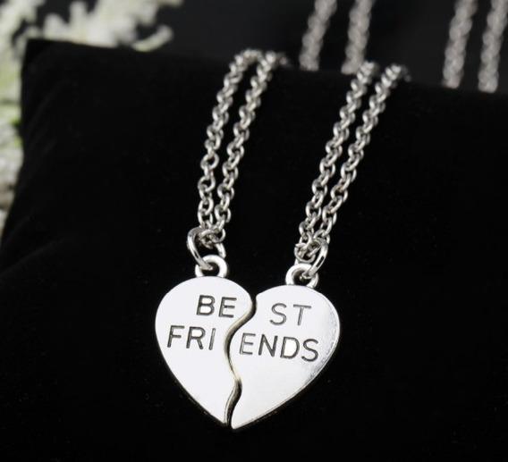 Colar Best Friends Forever Sempre Amigas 2 Pçs Cor Niquel