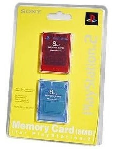Imagen 1 de 1 de Playstation 2 Tarjeta De Memoria De 8 Mb 2pk Rojo / Azul