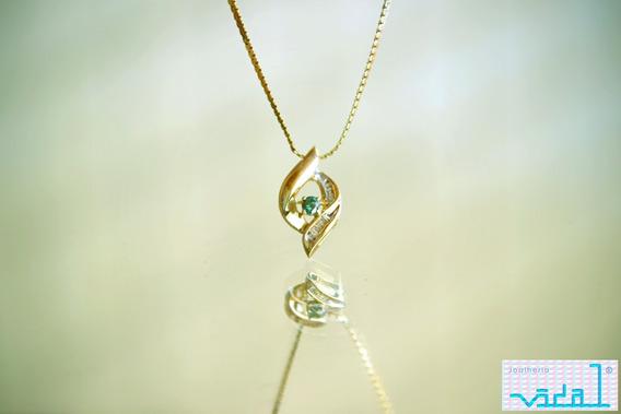 Colar Vegas, 14 K, Esmeralda/diamantes. Promoção!