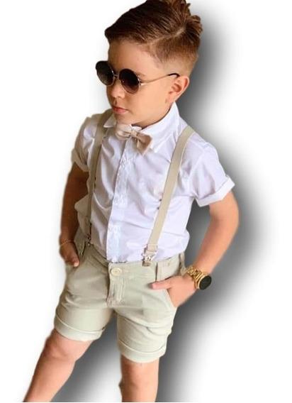 Conjunto Roupa Social Infantil Menino Bege